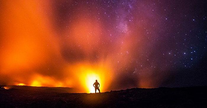 Kilauea Volcano, Hawaii; detail of photograph by Eric Leifer
